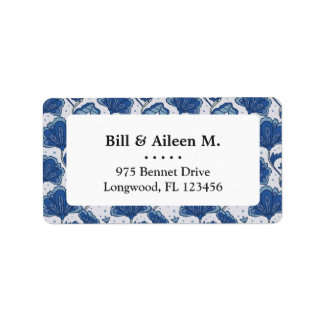 Modern classy elegant blue batik pattern label