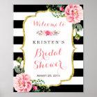 Modern Classy Pink Floral Bridal Shower Sign