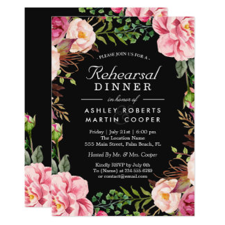 Modern Classy Pink Floral Wedding Rehearsal Dinner Card