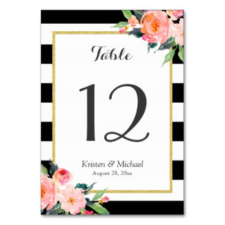 Modern Classy Stripes Floral Wedding Table Number