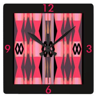 Modern Clock - Home- Fuchsia/Pink/Black/Gray