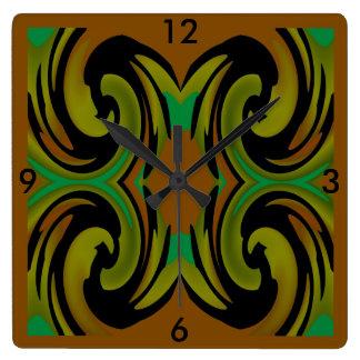 Modern  Clock -Home -Pumpkin/Black/Shades of Green