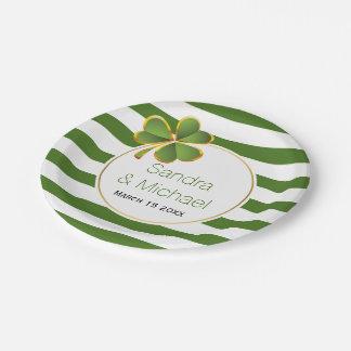 Modern clover & green white stripes Irish wedding 7 Inch Paper Plate