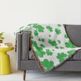 Modern clover throw blanket, St. Patrick's Day