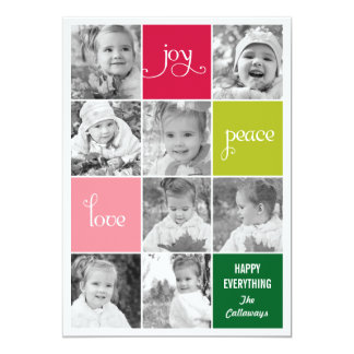 """Modern Collage Holiday Photo Cards 5"""" X 7"""" Invitation Card"""