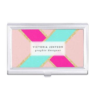Modern color block neon pink mint gold stripes business card holder