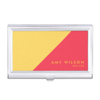 Modern Color Block Red Yellow Business Card Holder