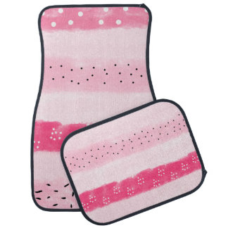modern color block stripes white pink brushstrokes car mat