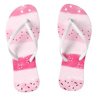 modern color block stripes white pink brushstrokes flip flops