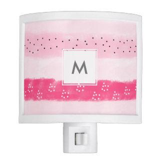 modern color block stripes white pink brushstrokes night light