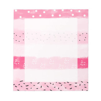 modern color block stripes white pink brushstrokes notepad