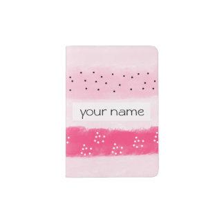 modern color block stripes white pink brushstrokes passport holder