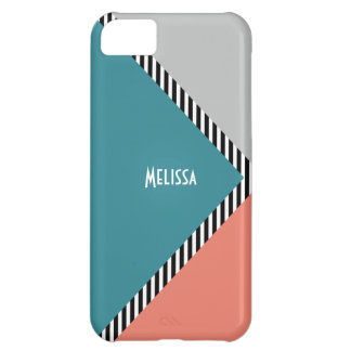 Modern color block triangle & stripes iPhone 5C covers