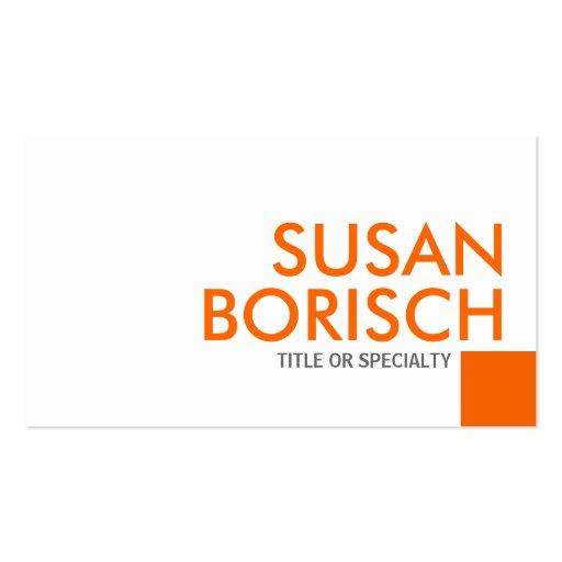 Modern Color Minimalist White Orange Business Card