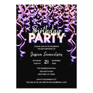 Modern Color Streamers Confetti BIRTHDAY PARTY Card