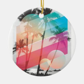 Modern Color stripes coconut trees background Ceramic Ornament