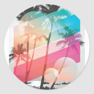 Modern Color stripes coconut trees background Classic Round Sticker
