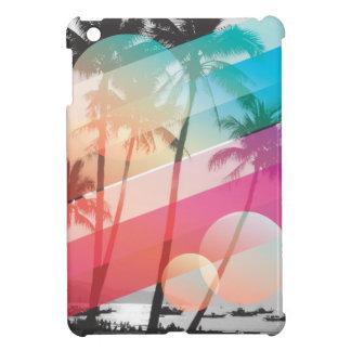 Modern Color stripes coconut trees background iPad Mini Cover
