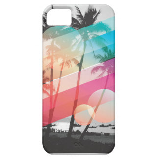 Modern Color stripes coconut trees background iPhone 5 Cover