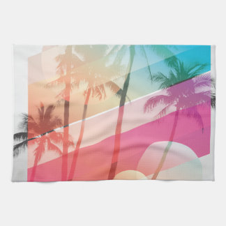 Modern Color stripes coconut trees background Kitchen Towel