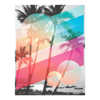 Modern Color stripes coconut trees background Letterhead Template