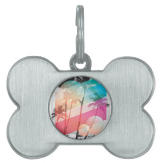 Modern Color stripes coconut trees background Pet Tag