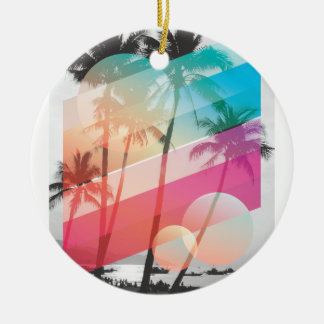 Modern Color stripes coconut trees background Round Ceramic Ornament