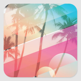 Modern Color stripes coconut trees background Square Sticker