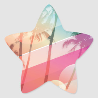 Modern Color stripes coconut trees background Star Sticker