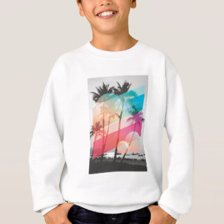 Modern Color stripes coconut trees background Sweatshirt