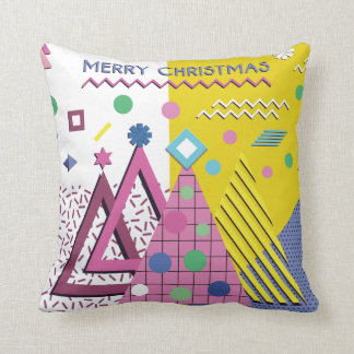Modern Colorful Christmas Design - Memphis Style Throw Pillow