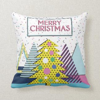 Modern Colorful Christmas Design - Memphis Style Throw Pillow