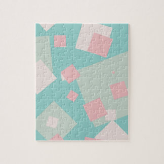 Modern colorful cyan and pink boxes pattern jigsaw puzzle