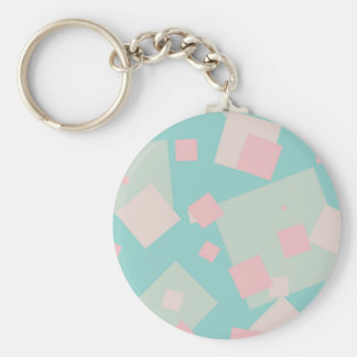 Modern colorful cyan and pink boxes pattern keychain