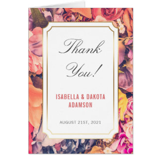 Modern Colorful Floral Wedding Thank You Card