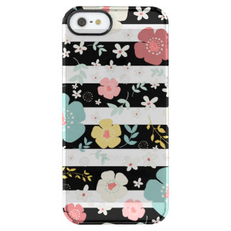 Modern Colorful Flowers Over Black & White Stripes Clear iPhone SE/5/5s Case