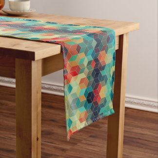 Modern Colorful Geometric Cubes Short Table Runner