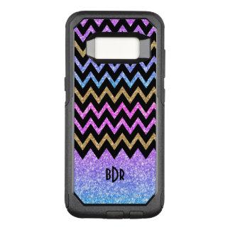 Modern Colorful Glitter & Black Chevron OtterBox Commuter Samsung Galaxy S8 Case