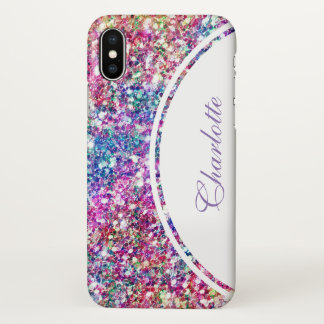 Modern Colorful Glitter Pattern Monogram iPhone X Case