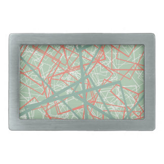 Modern colorful green and orange boxes pattern rectangular belt buckles