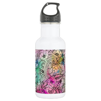 Modern colorful hand drawn flowers watercolor wash 532 ml water bottle