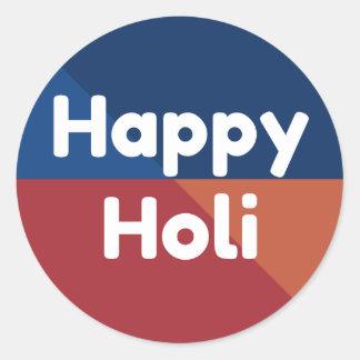 Modern Colorful Happy Holi Round Sticker