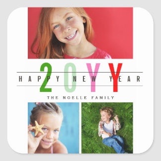 Modern Colorful Happy New Year Photo Collage Square Sticker