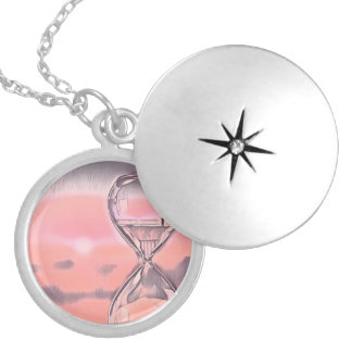 Modern Colorful Hourglass Passage Of Time Silver Plated Necklace