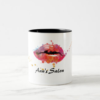 Modern Colorful Lips Makeup Beauty Hair Salon Two-Tone Coffee Mug