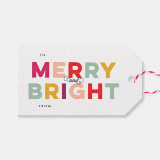 Modern Colorful Merry and Bright Twine Pack Of Gift Tags