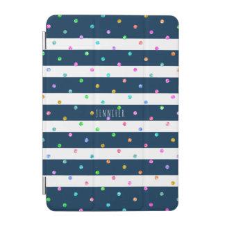 Modern Colorful PolkaDots On Blue & White Stripes iPad Mini Cover