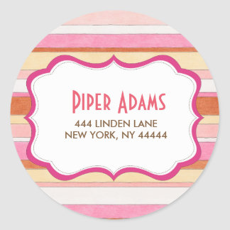 Modern Colorful Striped Address Stickers
