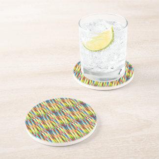 Modern Colorful Stripes Pattern Coaster