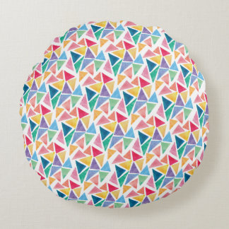 Modern Colorful Triangle Round Pillow